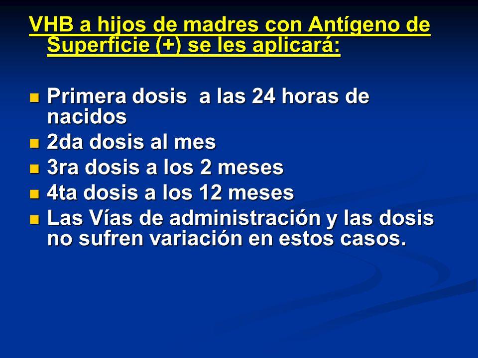 VHB a hijos de madres con Antígeno de Superficie (+) se les aplicará:
