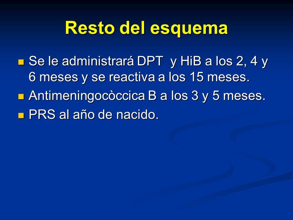 Resto del esquema Se le administrará DPT y HiB a los 2, 4 y 6 meses y se reactiva a los 15 meses. Antimeningocòccica B a los 3 y 5 meses.