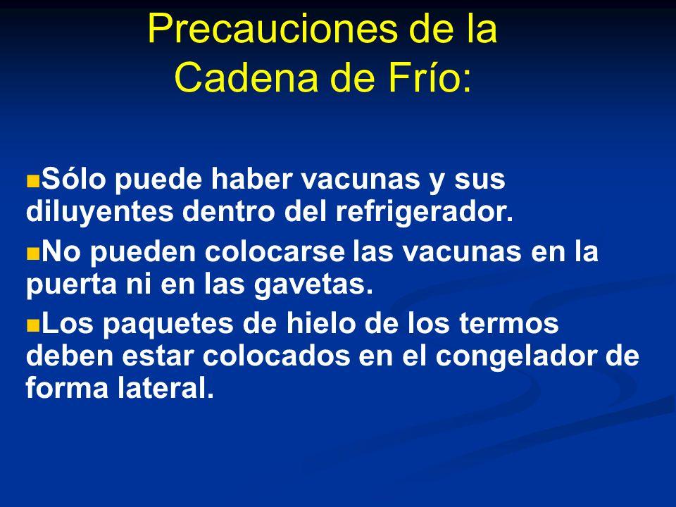 Precauciones de la Cadena de Frío: