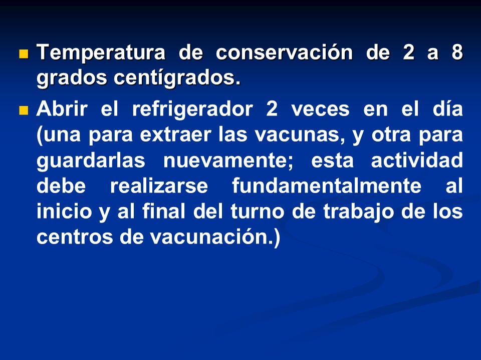 Temperatura de conservación de 2 a 8 grados centígrados.
