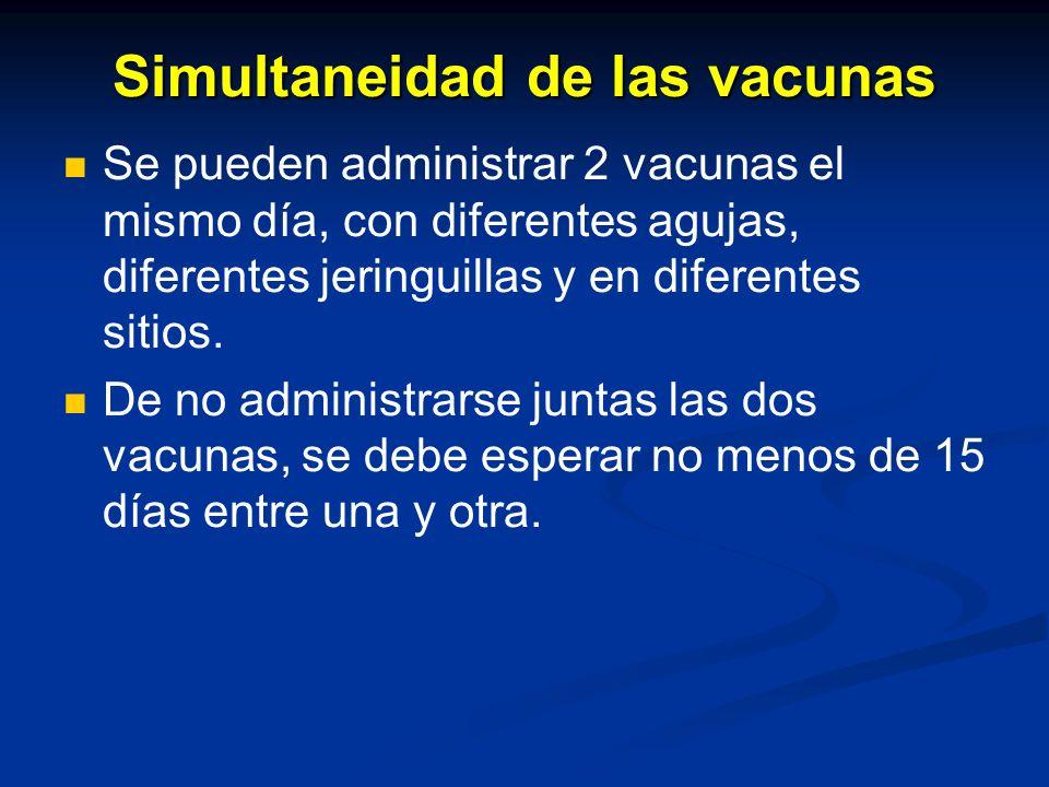 Simultaneidad de las vacunas
