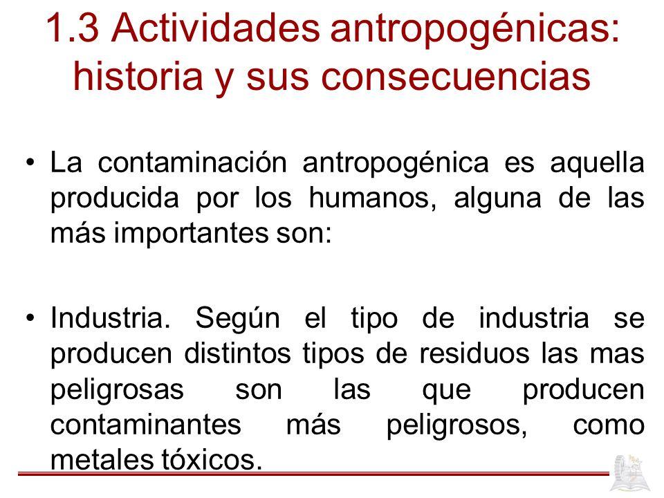 1.3 Actividades antropogénicas: historia y sus consecuencias