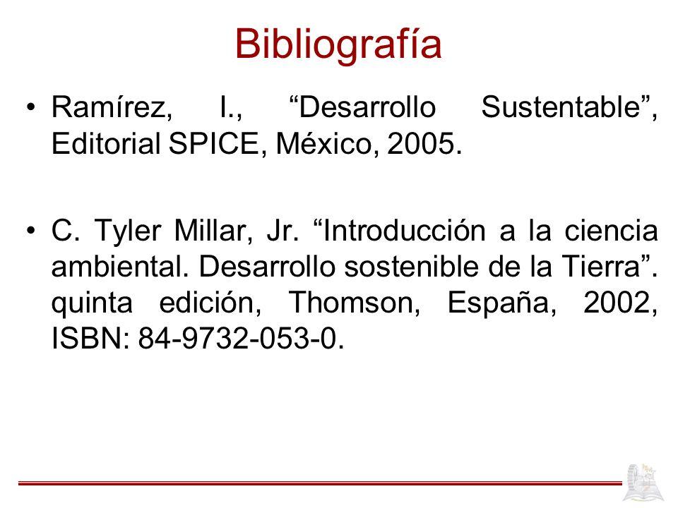 Bibliografía Ramírez, I., Desarrollo Sustentable , Editorial SPICE, México, 2005.