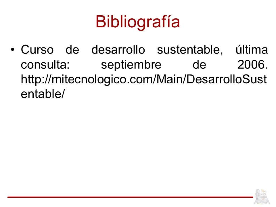 Bibliografía Curso de desarrollo sustentable, última consulta: septiembre de 2006.