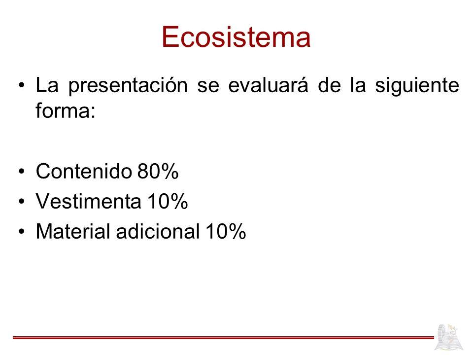 Ecosistema La presentación se evaluará de la siguiente forma: