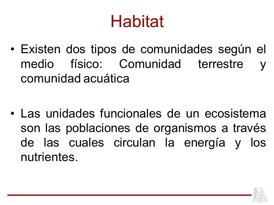 Habitat Existen dos tipos de comunidades según el medio físico: Comunidad terrestre y comunidad acuática.