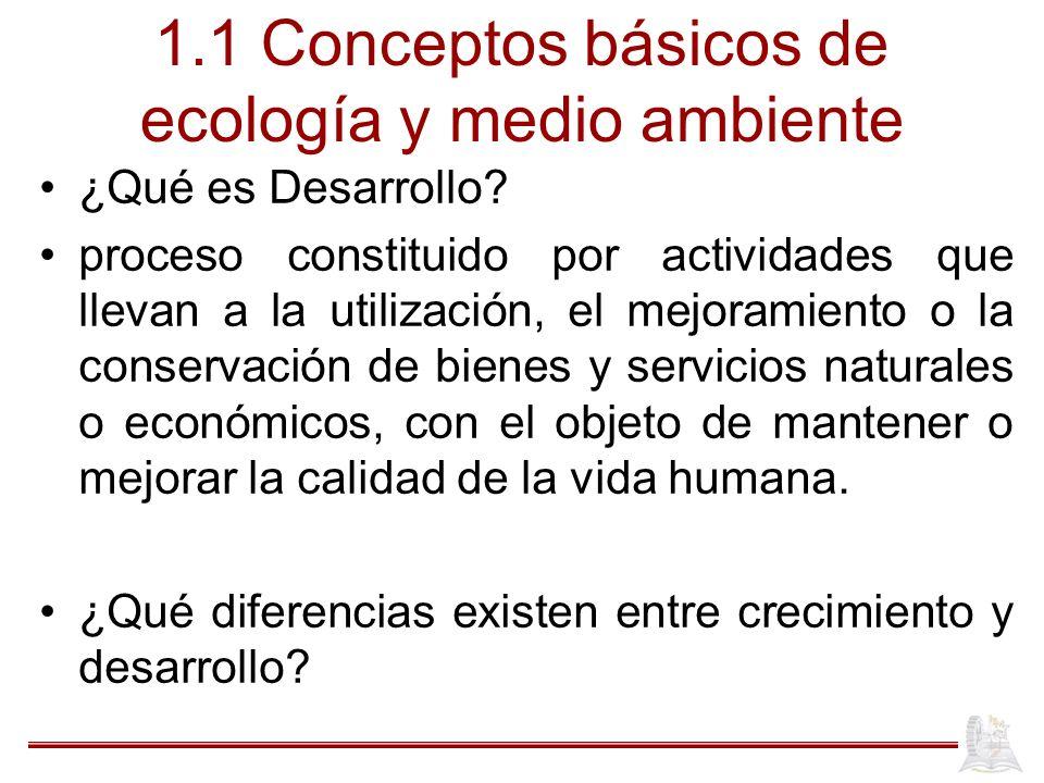 1.1 Conceptos básicos de ecología y medio ambiente
