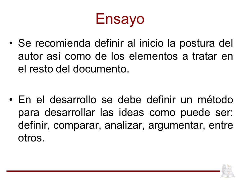 Ensayo Se recomienda definir al inicio la postura del autor así como de los elementos a tratar en el resto del documento.