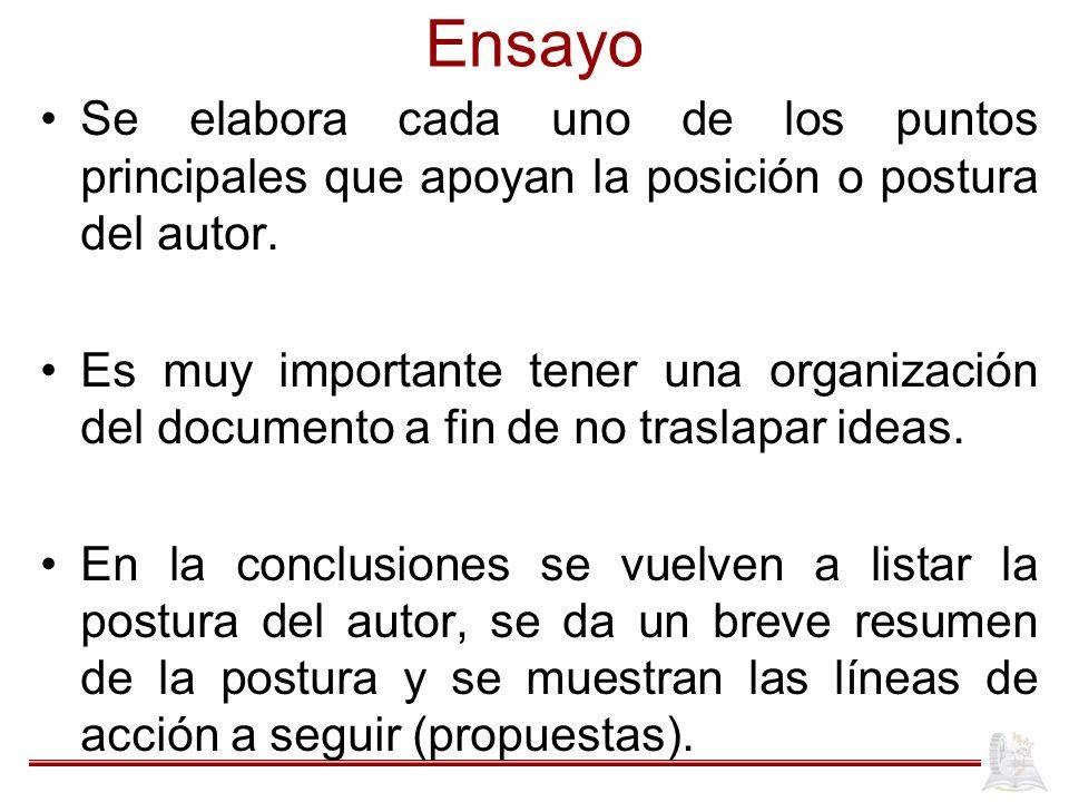 Ensayo Se elabora cada uno de los puntos principales que apoyan la posición o postura del autor.