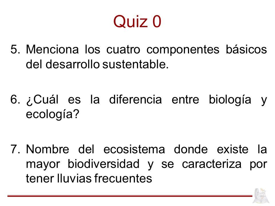 Quiz 0 Menciona los cuatro componentes básicos del desarrollo sustentable. ¿Cuál es la diferencia entre biología y ecología