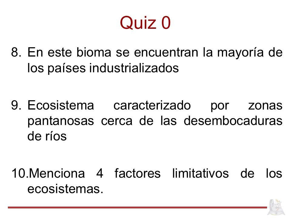 Quiz 0 En este bioma se encuentran la mayoría de los países industrializados.