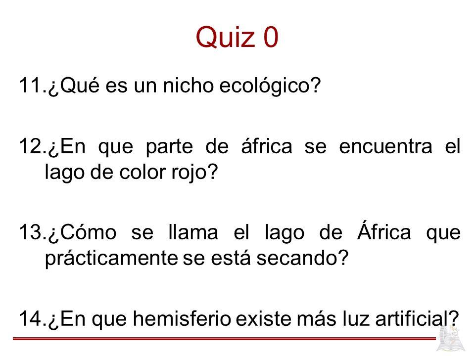 Quiz 0 ¿Qué es un nicho ecológico
