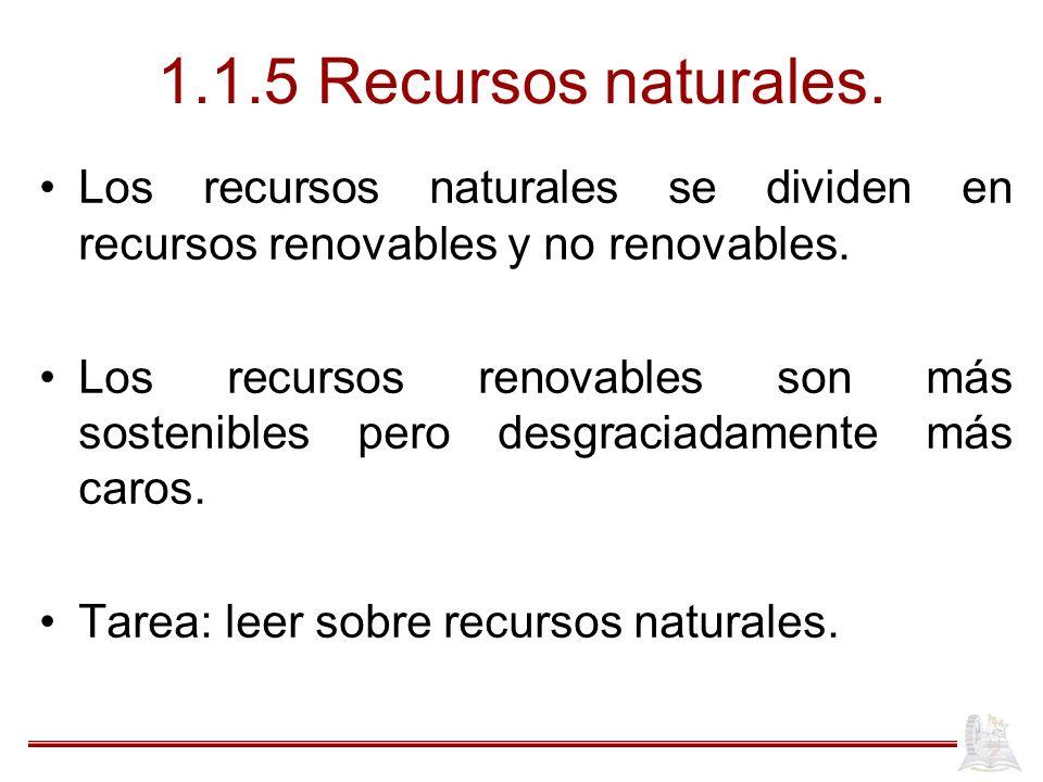 1.1.5 Recursos naturales. Los recursos naturales se dividen en recursos renovables y no renovables.