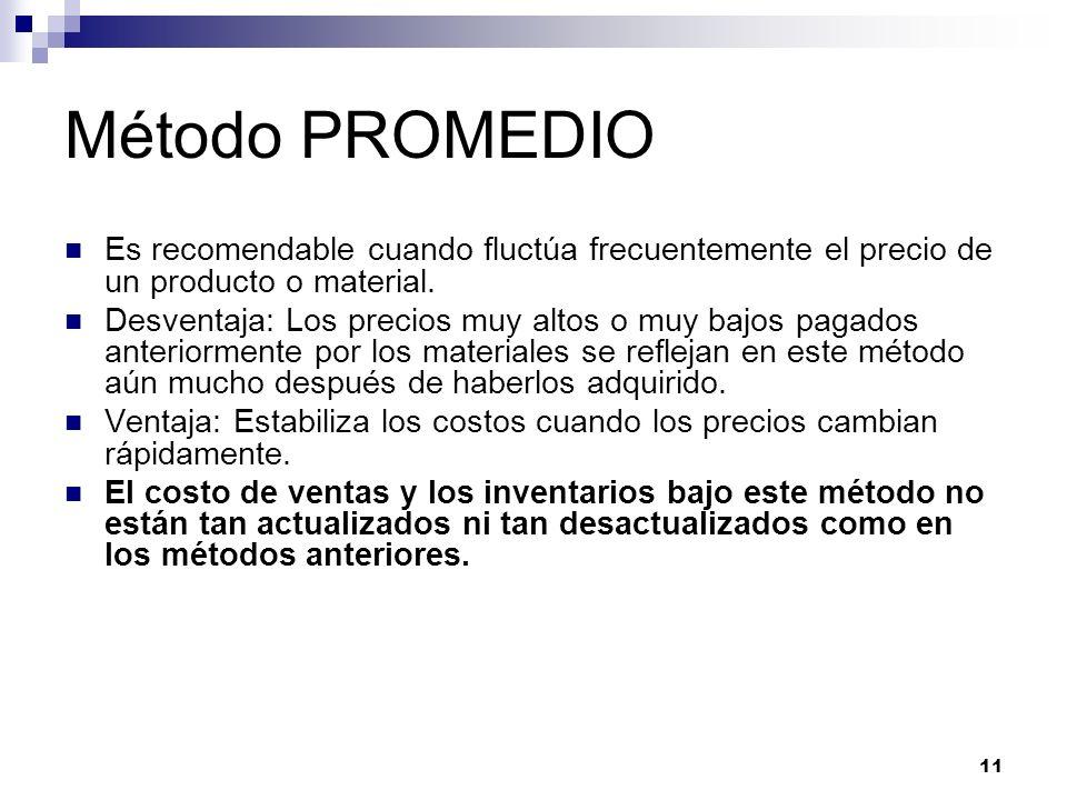 Método PROMEDIO Es recomendable cuando fluctúa frecuentemente el precio de un producto o material.