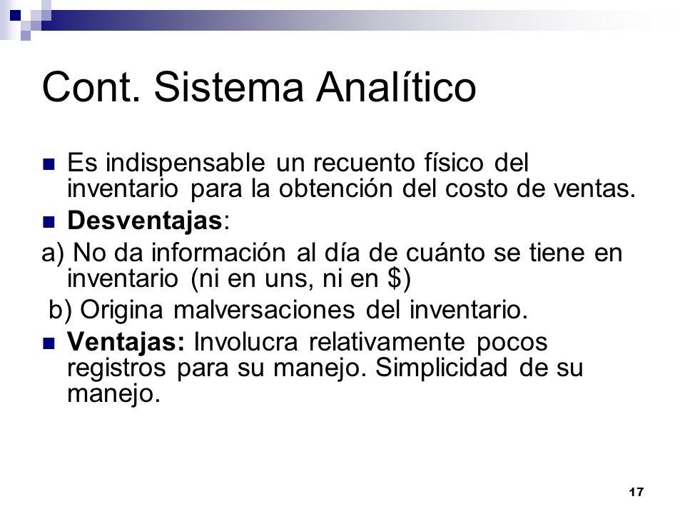 Cont. Sistema Analítico