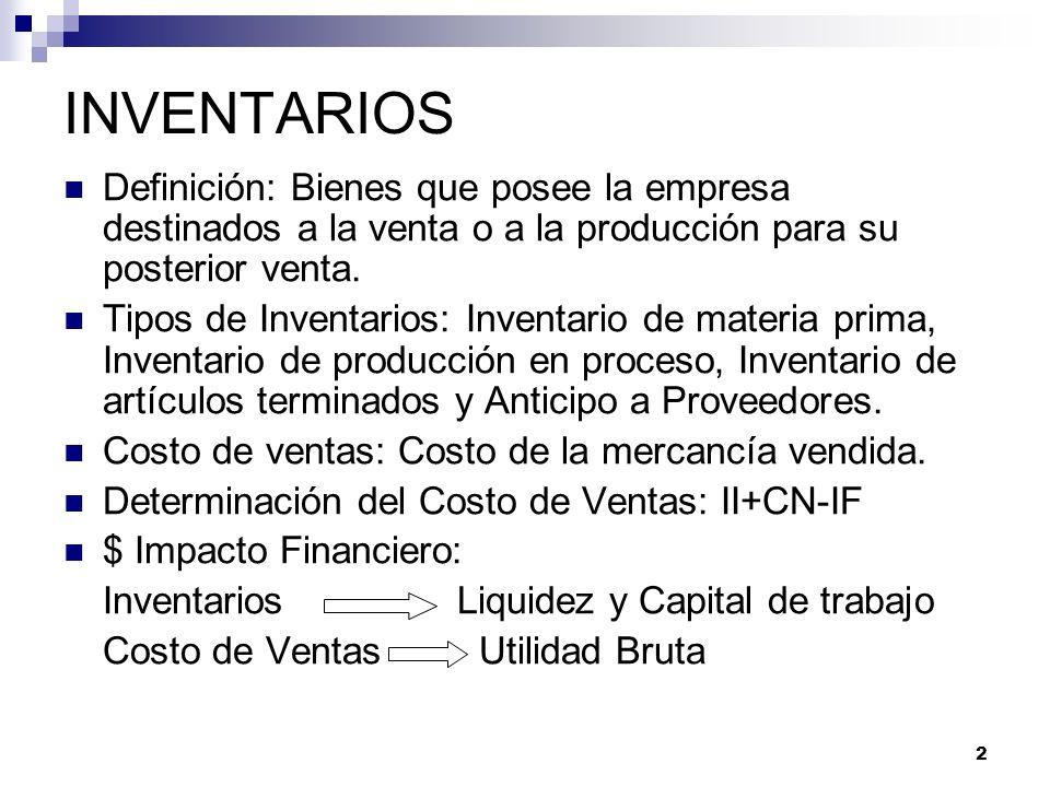 INVENTARIOS Definición: Bienes que posee la empresa destinados a la venta o a la producción para su posterior venta.