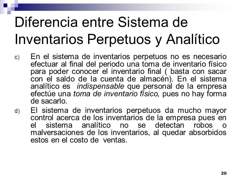 Diferencia entre Sistema de Inventarios Perpetuos y Analítico