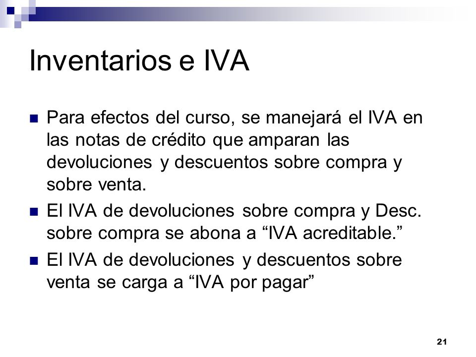 Inventarios e IVA