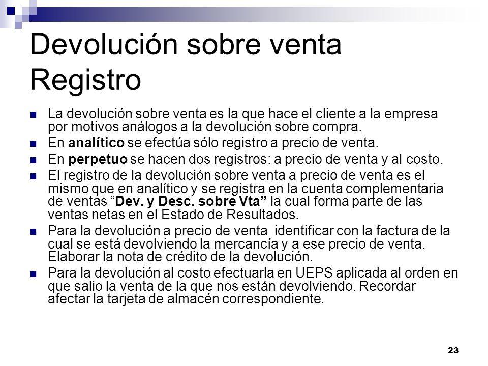 Devolución sobre venta Registro