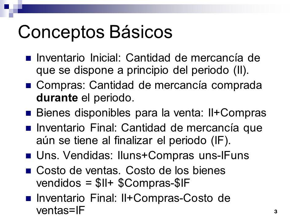 Conceptos Básicos Inventario Inicial: Cantidad de mercancía de que se dispone a principio del periodo (II).