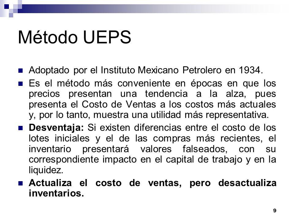 Método UEPS Adoptado por el Instituto Mexicano Petrolero en 1934.