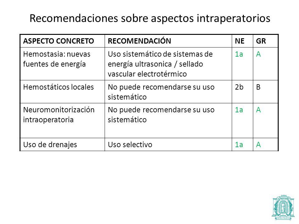 Recomendaciones sobre aspectos intraperatorios
