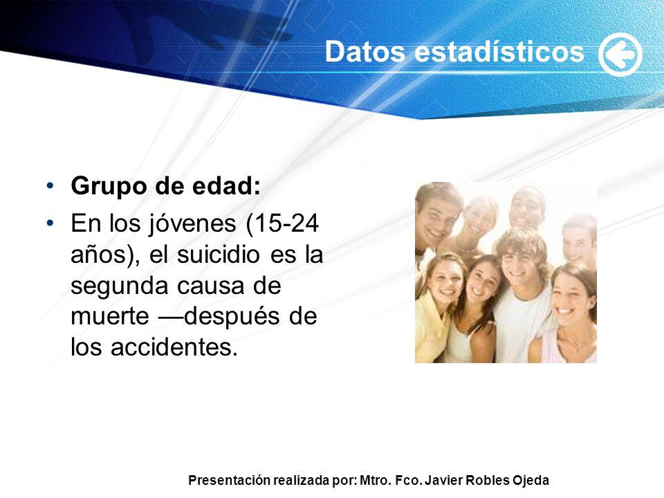 Datos estadísticos Grupo de edad: