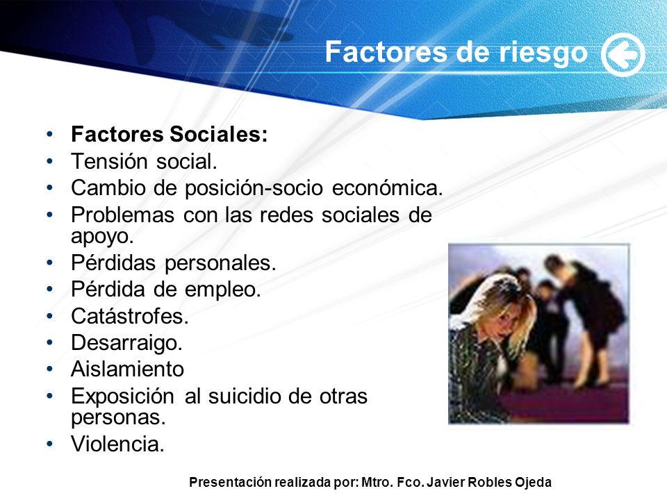 Factores de riesgo Factores Sociales: Tensión social.