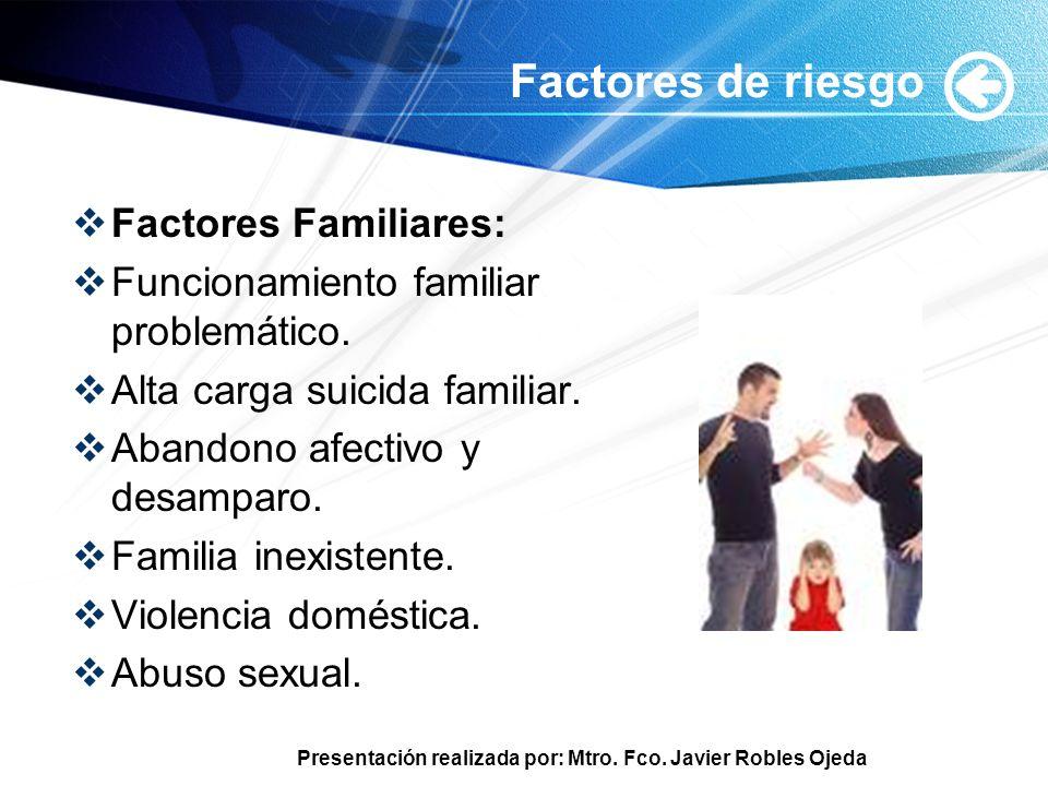 Factores de riesgo Factores Familiares: