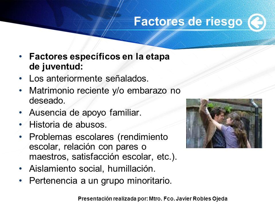 Factores de riesgo Factores específicos en la etapa de juventud: