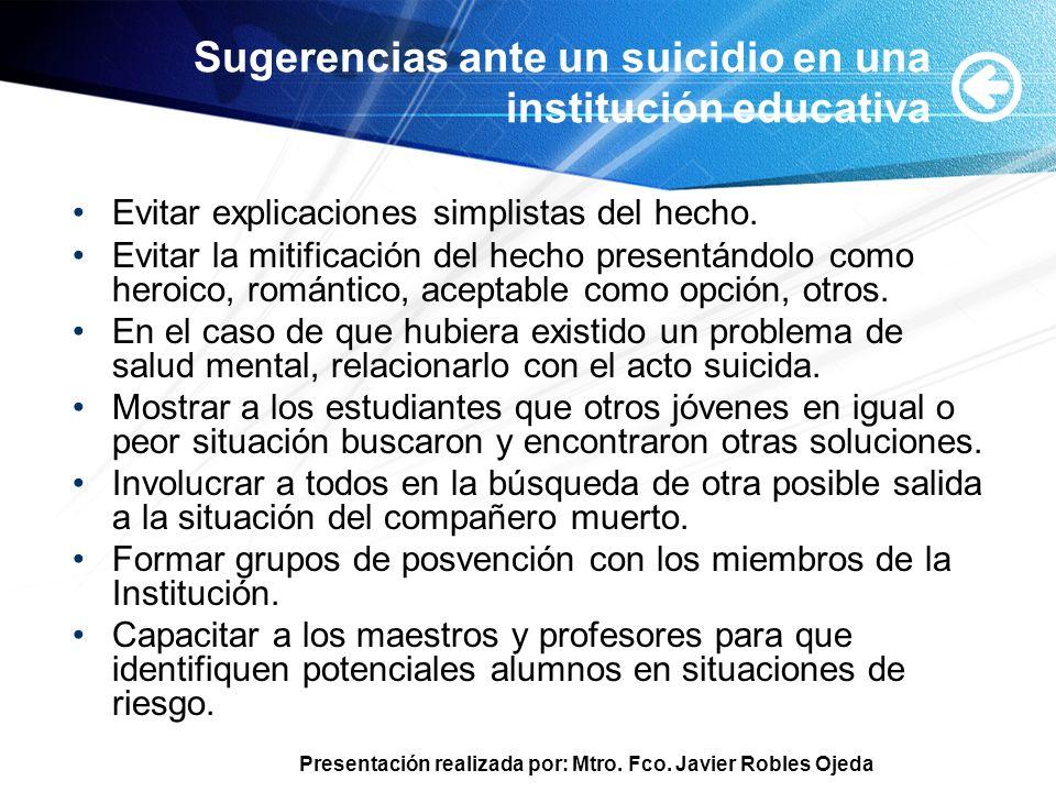 Sugerencias ante un suicidio en una institución educativa