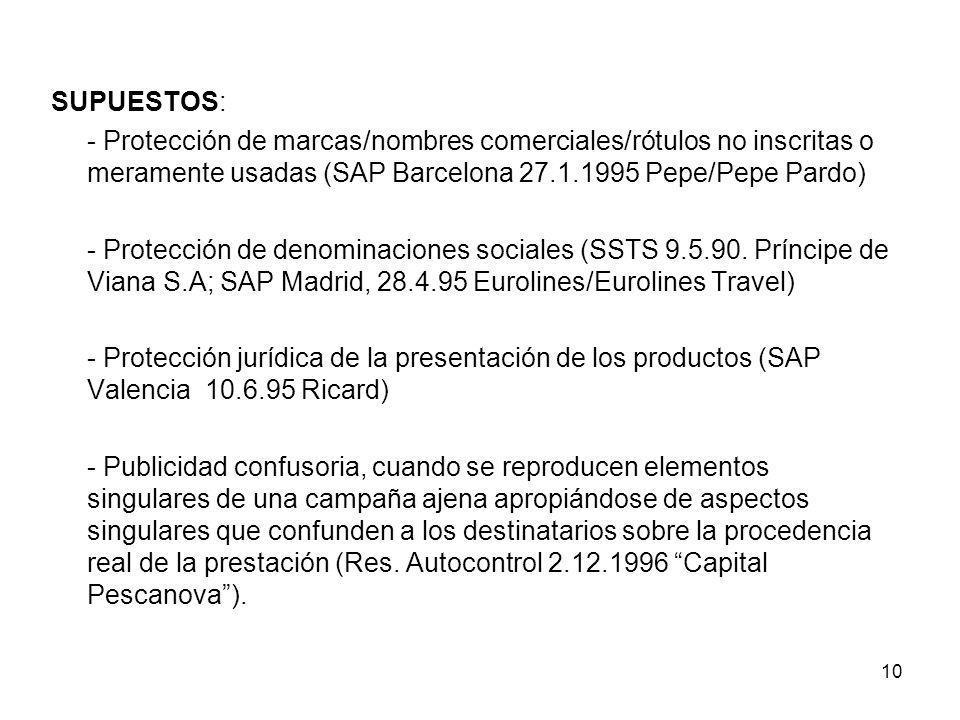 SUPUESTOS: - Protección de marcas/nombres comerciales/rótulos no inscritas o meramente usadas (SAP Barcelona 27.1.1995 Pepe/Pepe Pardo)