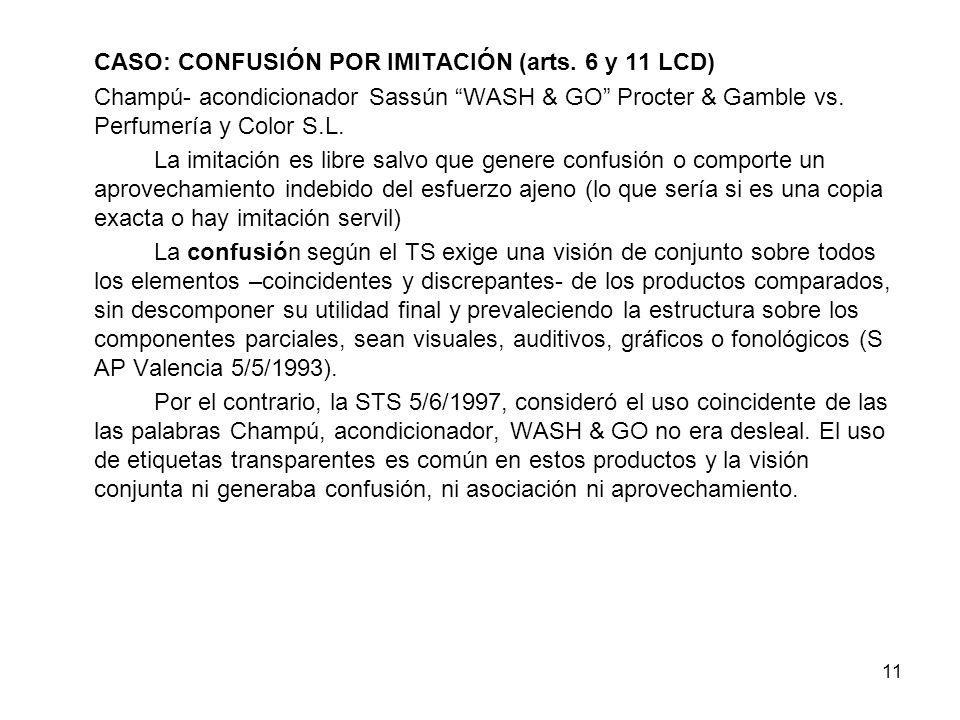 CASO: CONFUSIÓN POR IMITACIÓN (arts. 6 y 11 LCD)