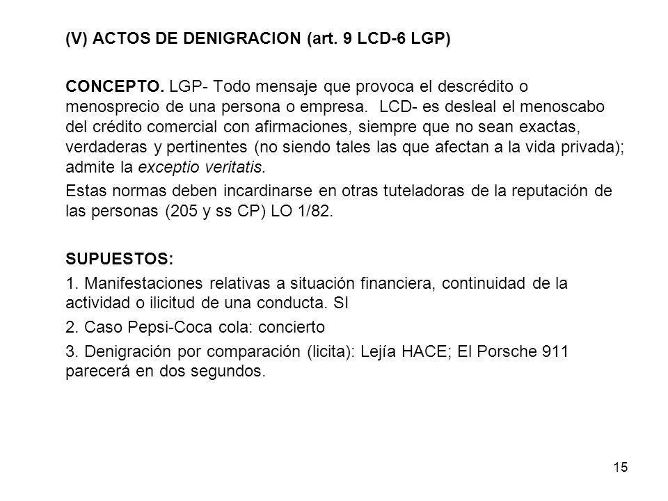 (V) ACTOS DE DENIGRACION (art. 9 LCD-6 LGP)