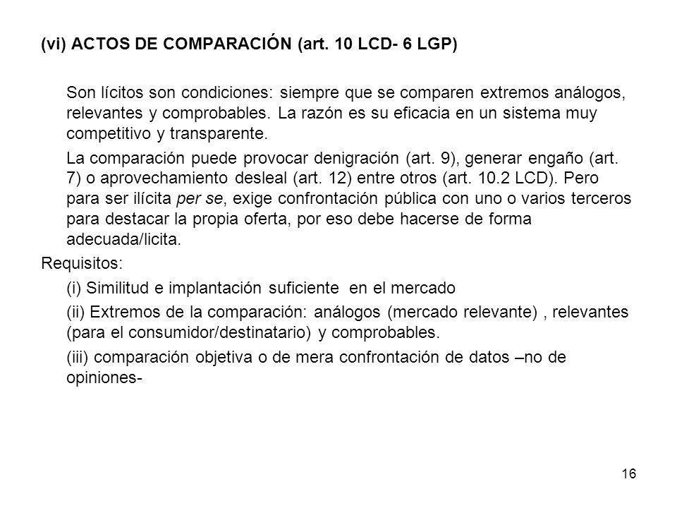 (vi) ACTOS DE COMPARACIÓN (art. 10 LCD- 6 LGP)
