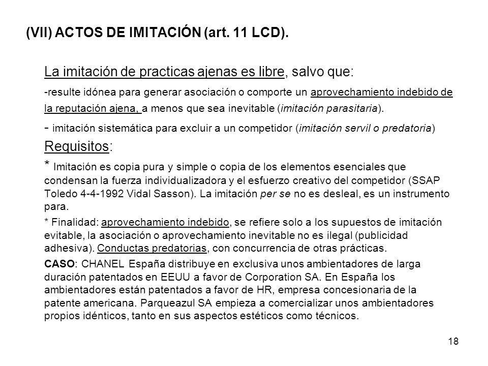 (VII) ACTOS DE IMITACIÓN (art. 11 LCD).