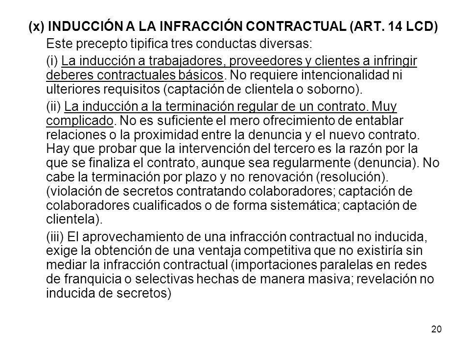 (x) INDUCCIÓN A LA INFRACCIÓN CONTRACTUAL (ART. 14 LCD)