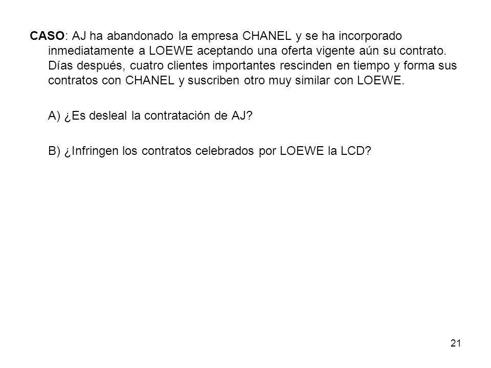 CASO: AJ ha abandonado la empresa CHANEL y se ha incorporado inmediatamente a LOEWE aceptando una oferta vigente aún su contrato. Días después, cuatro clientes importantes rescinden en tiempo y forma sus contratos con CHANEL y suscriben otro muy similar con LOEWE.
