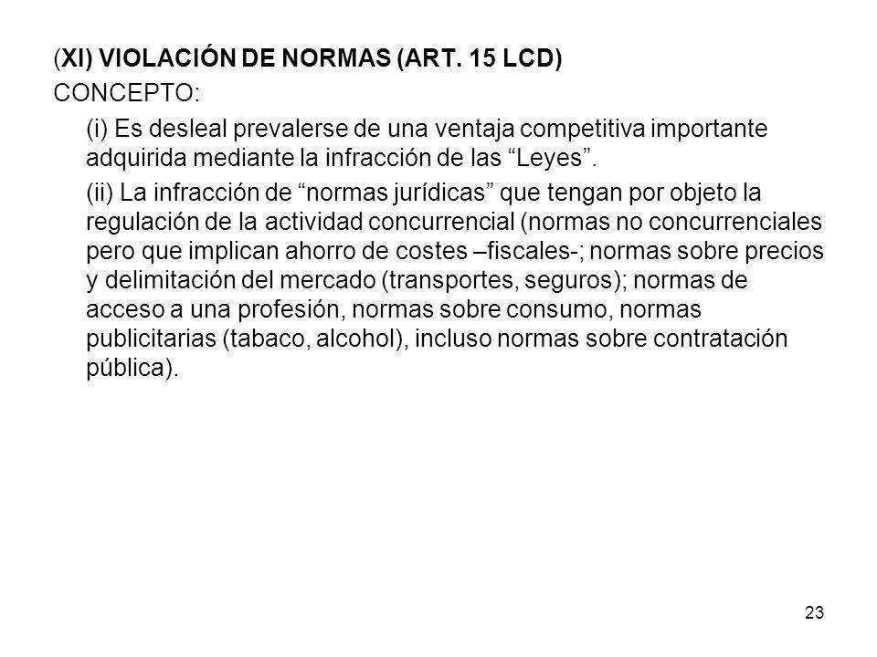(XI) VIOLACIÓN DE NORMAS (ART. 15 LCD)