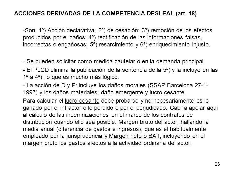 ACCIONES DERIVADAS DE LA COMPETENCIA DESLEAL (art. 18)