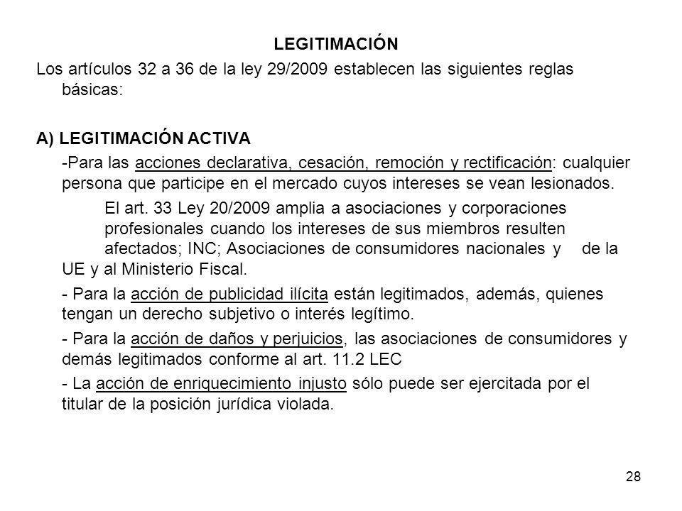 LEGITIMACIÓNLos artículos 32 a 36 de la ley 29/2009 establecen las siguientes reglas básicas: A) LEGITIMACIÓN ACTIVA.