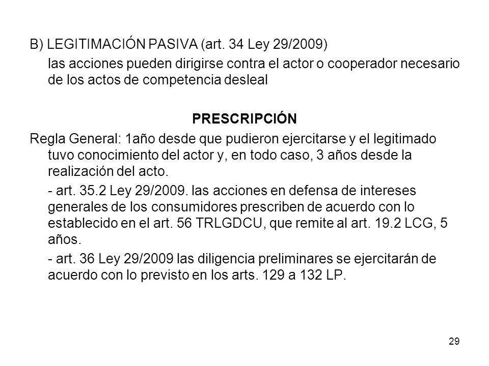 B) LEGITIMACIÓN PASIVA (art. 34 Ley 29/2009)