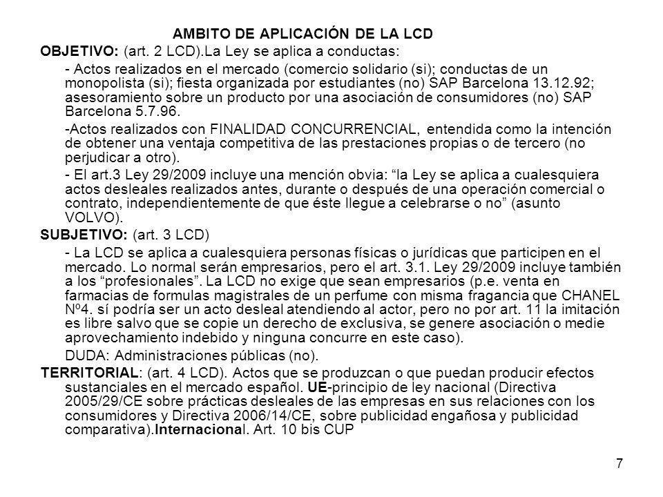 AMBITO DE APLICACIÓN DE LA LCD