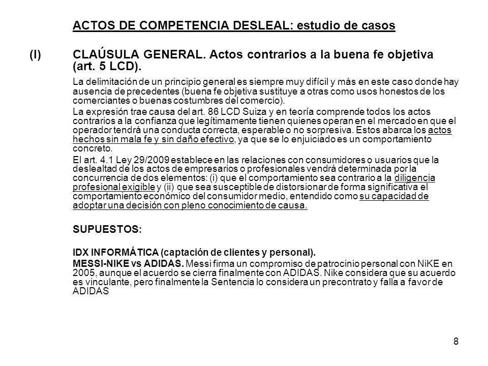 ACTOS DE COMPETENCIA DESLEAL: estudio de casos