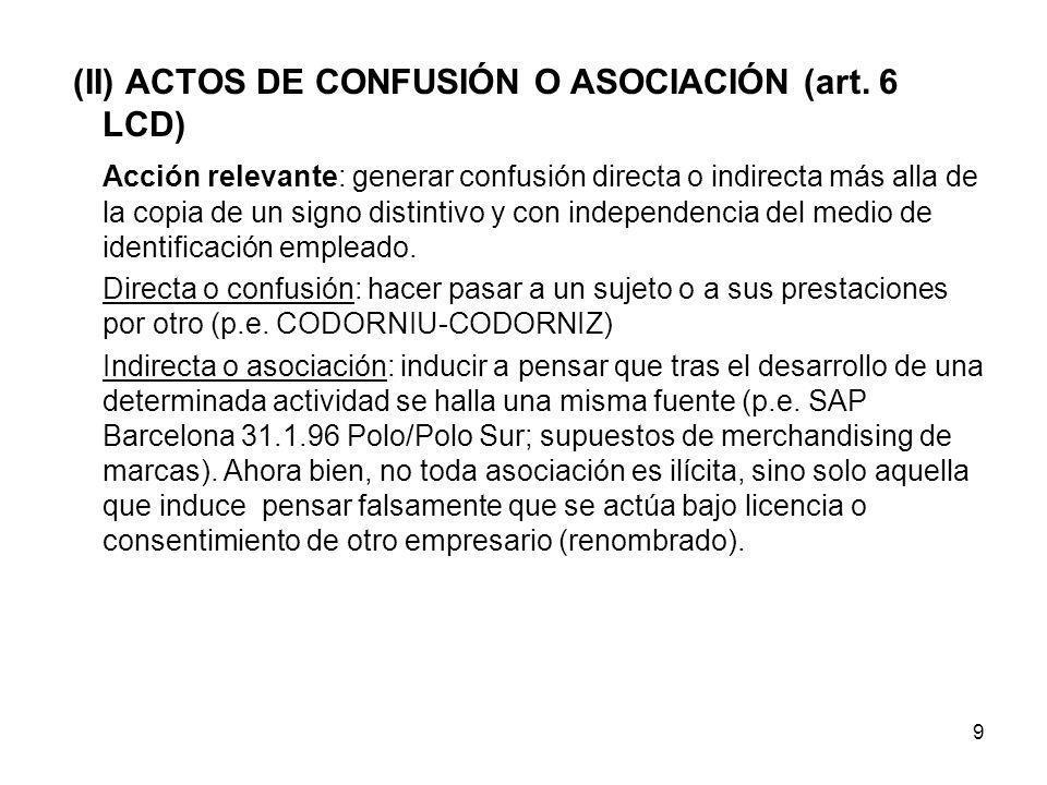 (II) ACTOS DE CONFUSIÓN O ASOCIACIÓN (art. 6 LCD)
