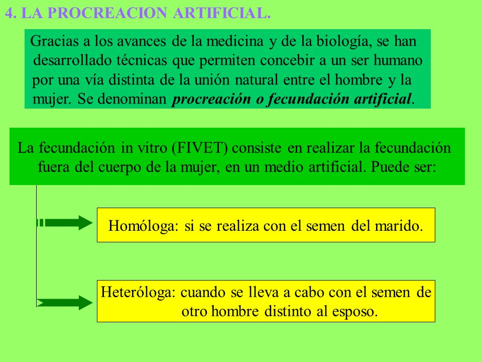 4. LA PROCREACION ARTIFICIAL.