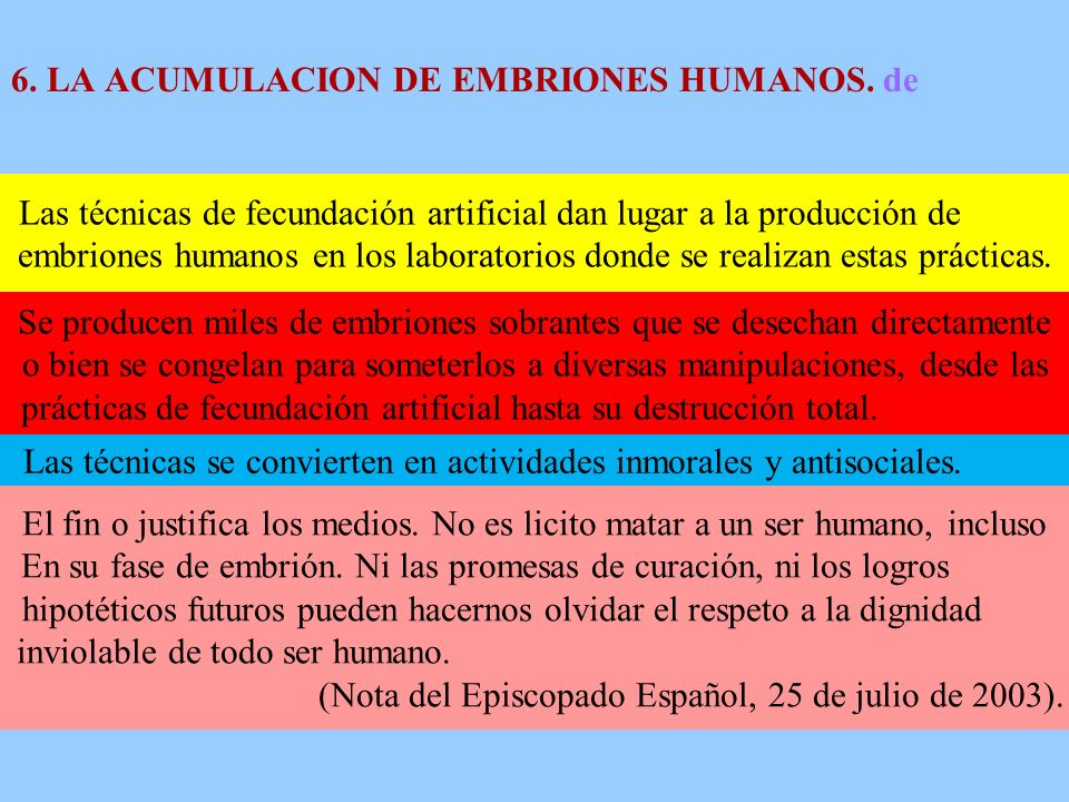 6. LA ACUMULACION DE EMBRIONES HUMANOS. de