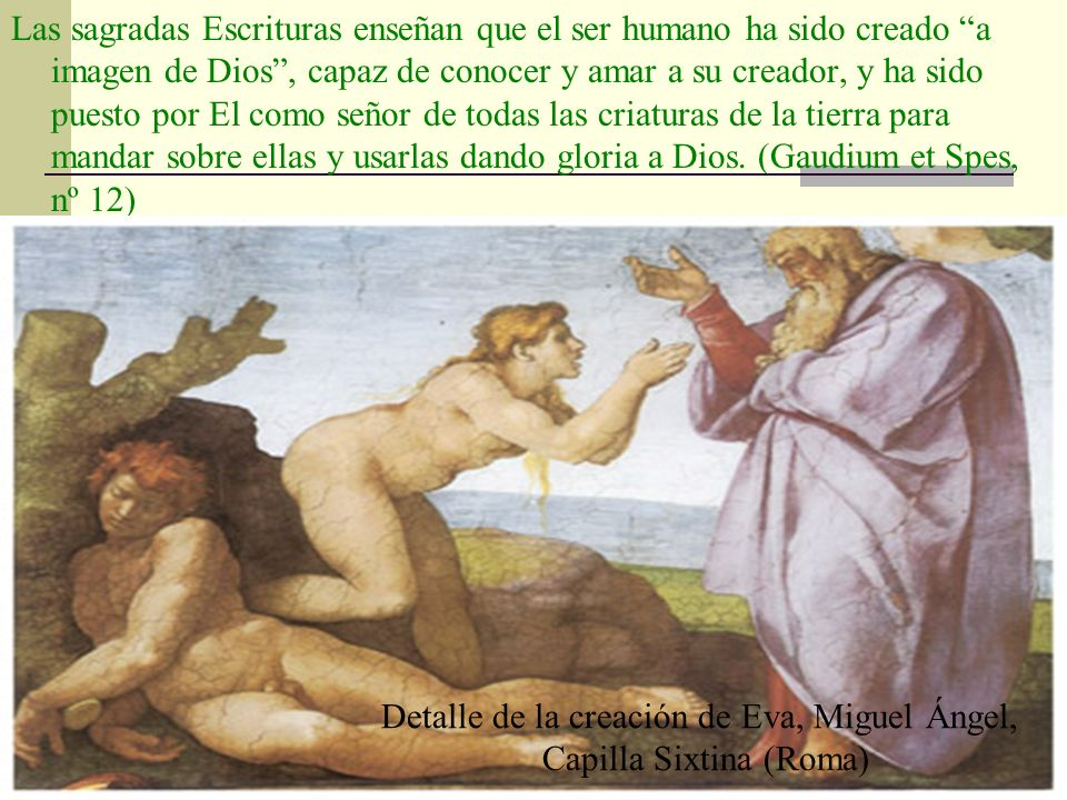 Detalle de la creación de Eva, Miguel Ángel, Capilla Sixtina (Roma)
