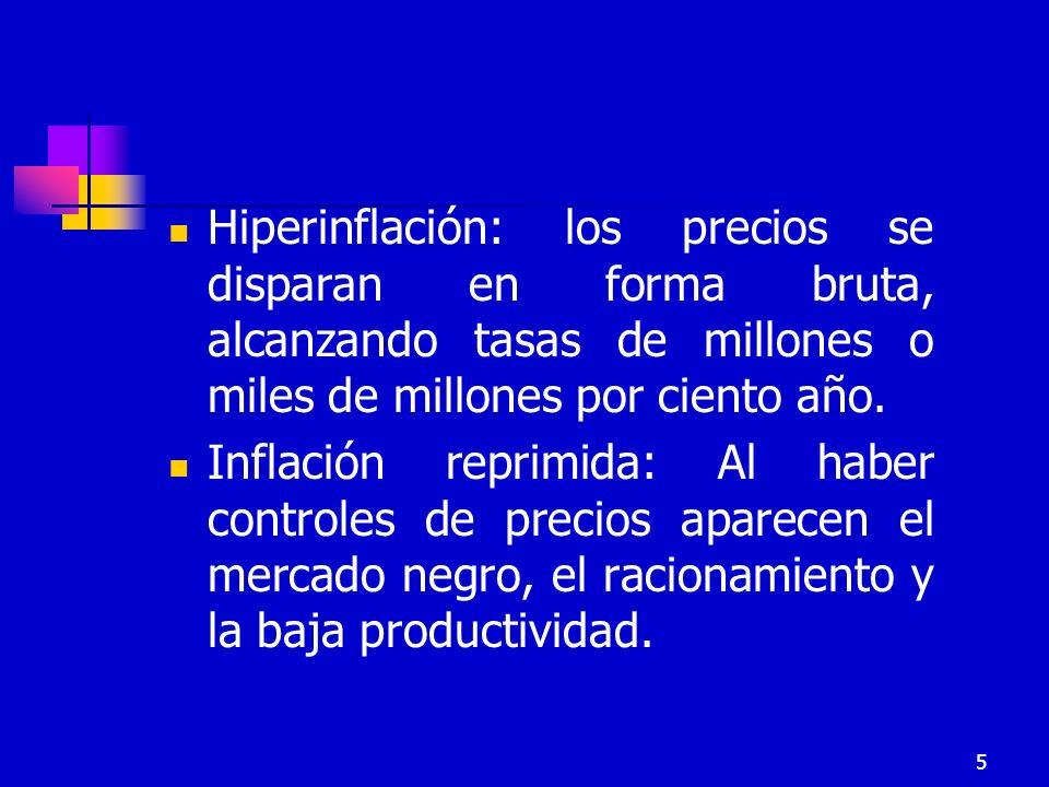 Hiperinflación: los precios se disparan en forma bruta, alcanzando tasas de millones o miles de millones por ciento año.
