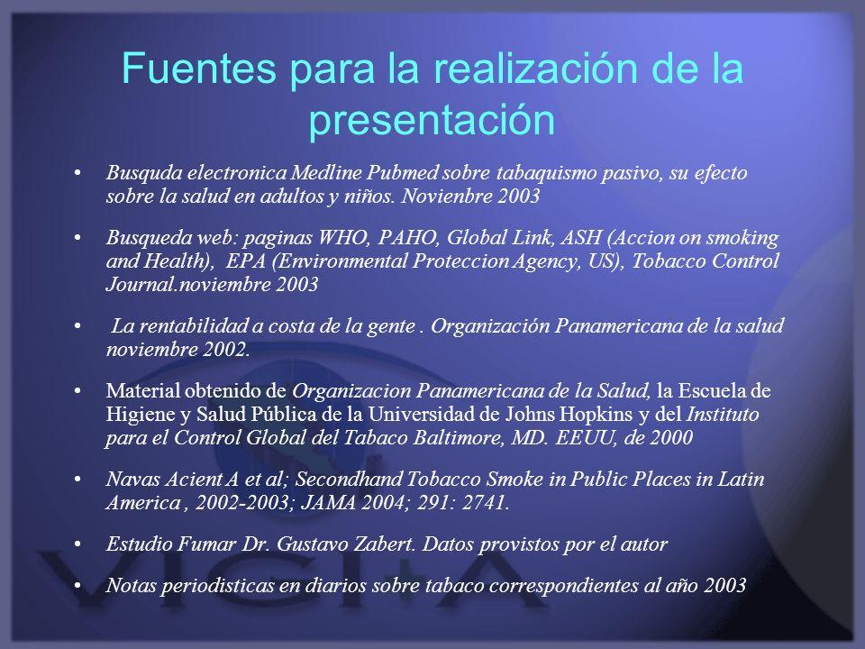 Fuentes para la realización de la presentación